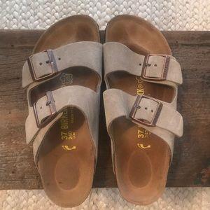 Birkenstock tan suede sandals